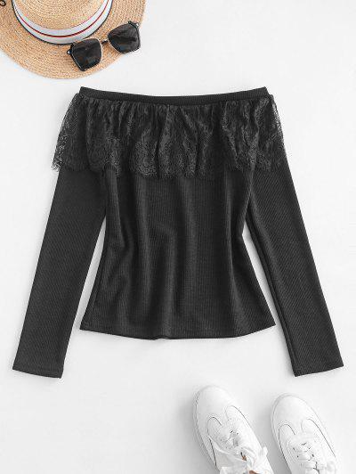 Lace Flounce Off Shoulder Ribbed Jumper Sweater - Black S