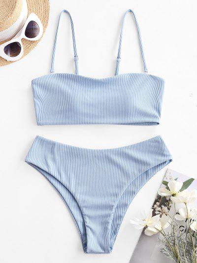 ZAFUL Ribbed Bandeau Bikini Swimsuit - Light Sky Blue M