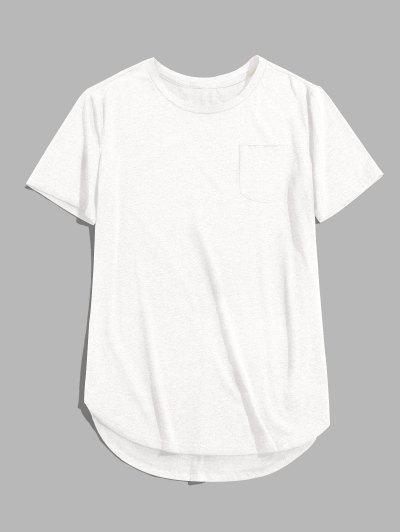 ZAFUL Einfarbiger Brusttaschen Hoher Niedriger T-Shirt - Weiß L