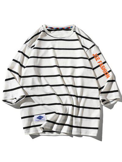 Letter Graphic Print Striped T-shirt - White Xl