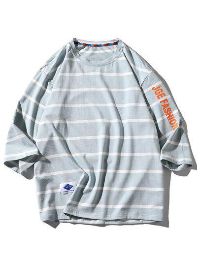 Letter Graphic Print Striped T-shirt - Light Blue 3xl