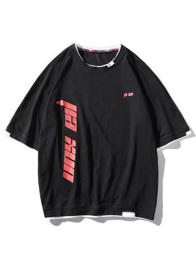 Camiseta Entretejida Con Estampado De Letras - Negro 3xl
