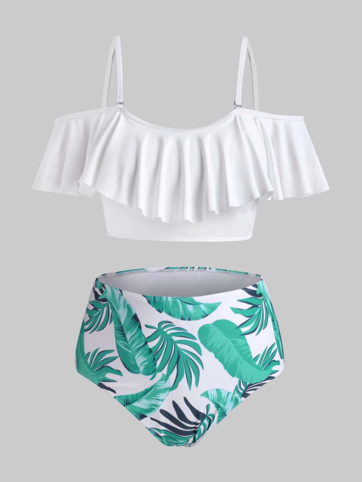 ZAFUL Plus Size Tropical Leaf Flounce Overlay Bikini Swimwear