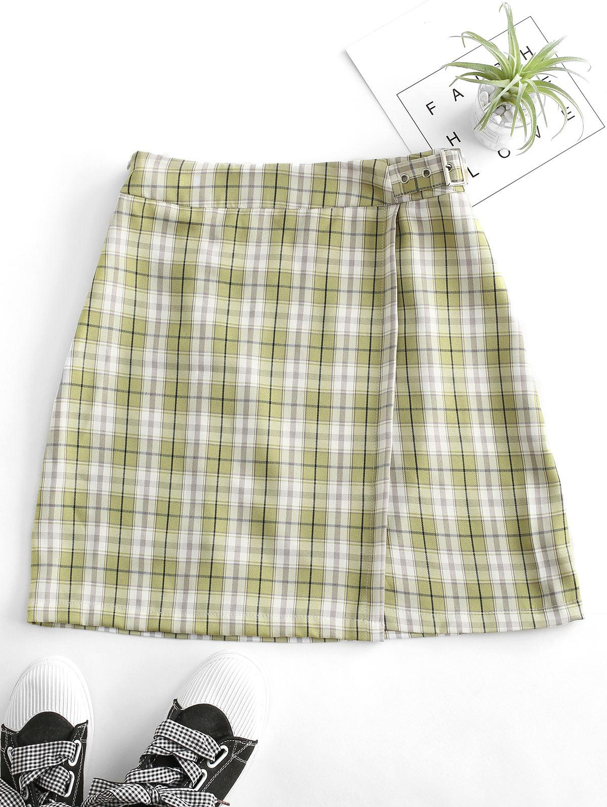 Plaid Buckled A Line Skirt