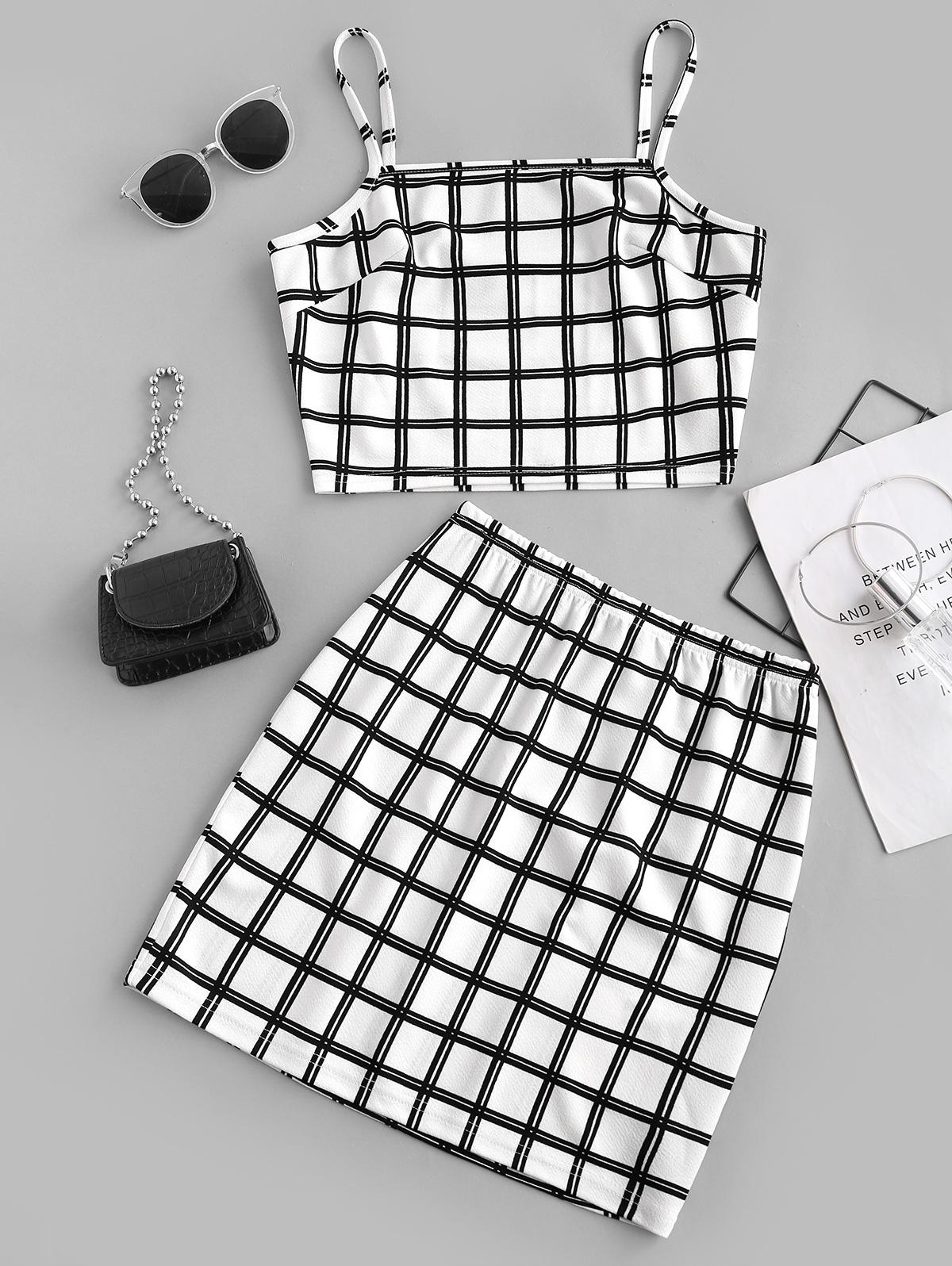 ZAFUL Two Piece Plaid Top And Skirt Set
