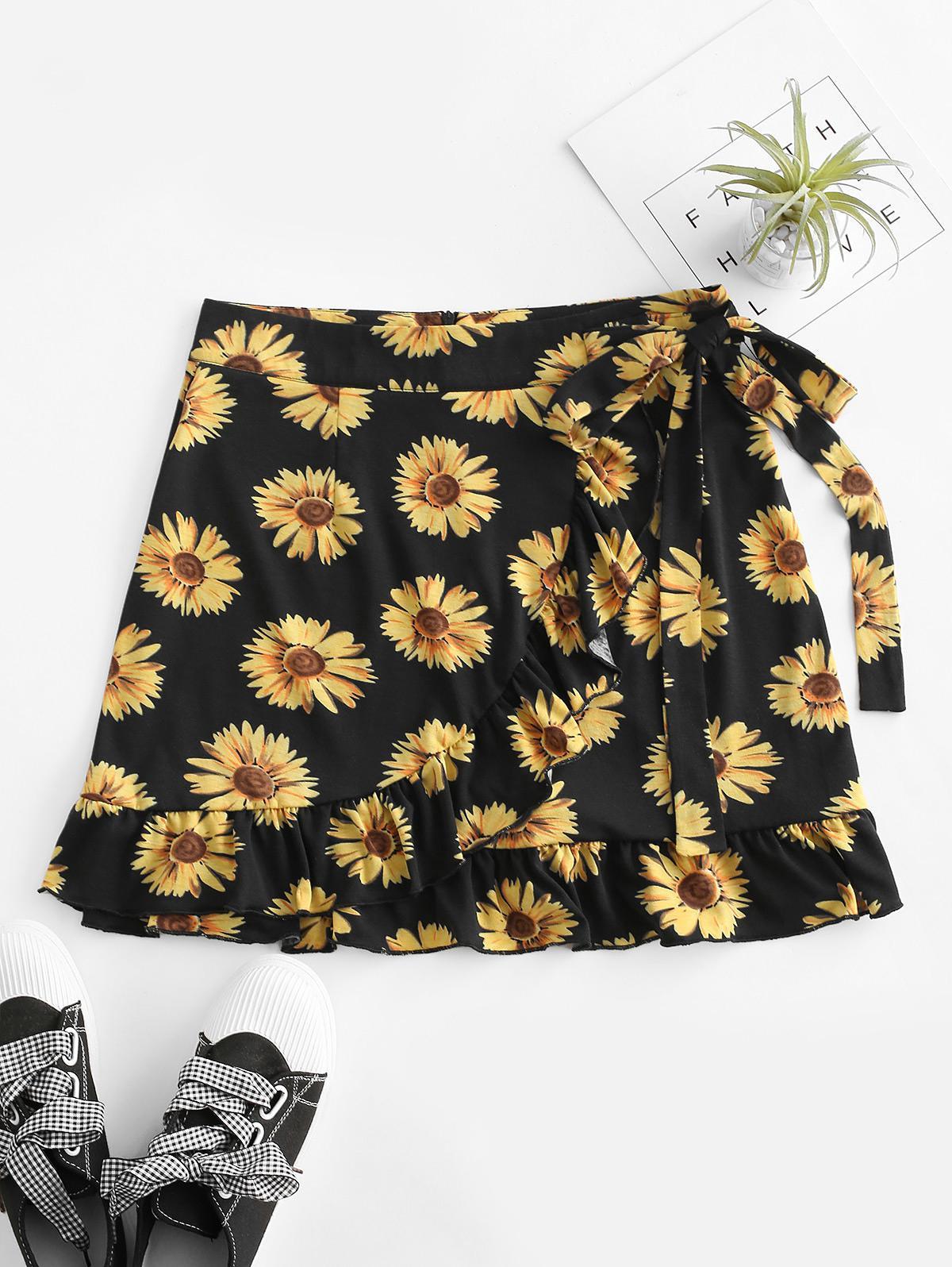 Sunflower Flounce Overlap Knotted Skirt