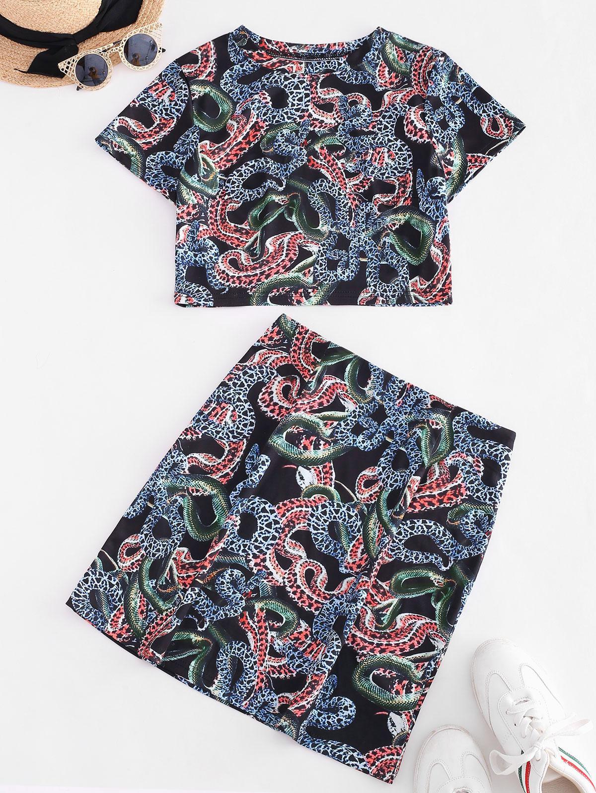 ZAFUL Cropped Animal Snake Print Two Piece Dress
