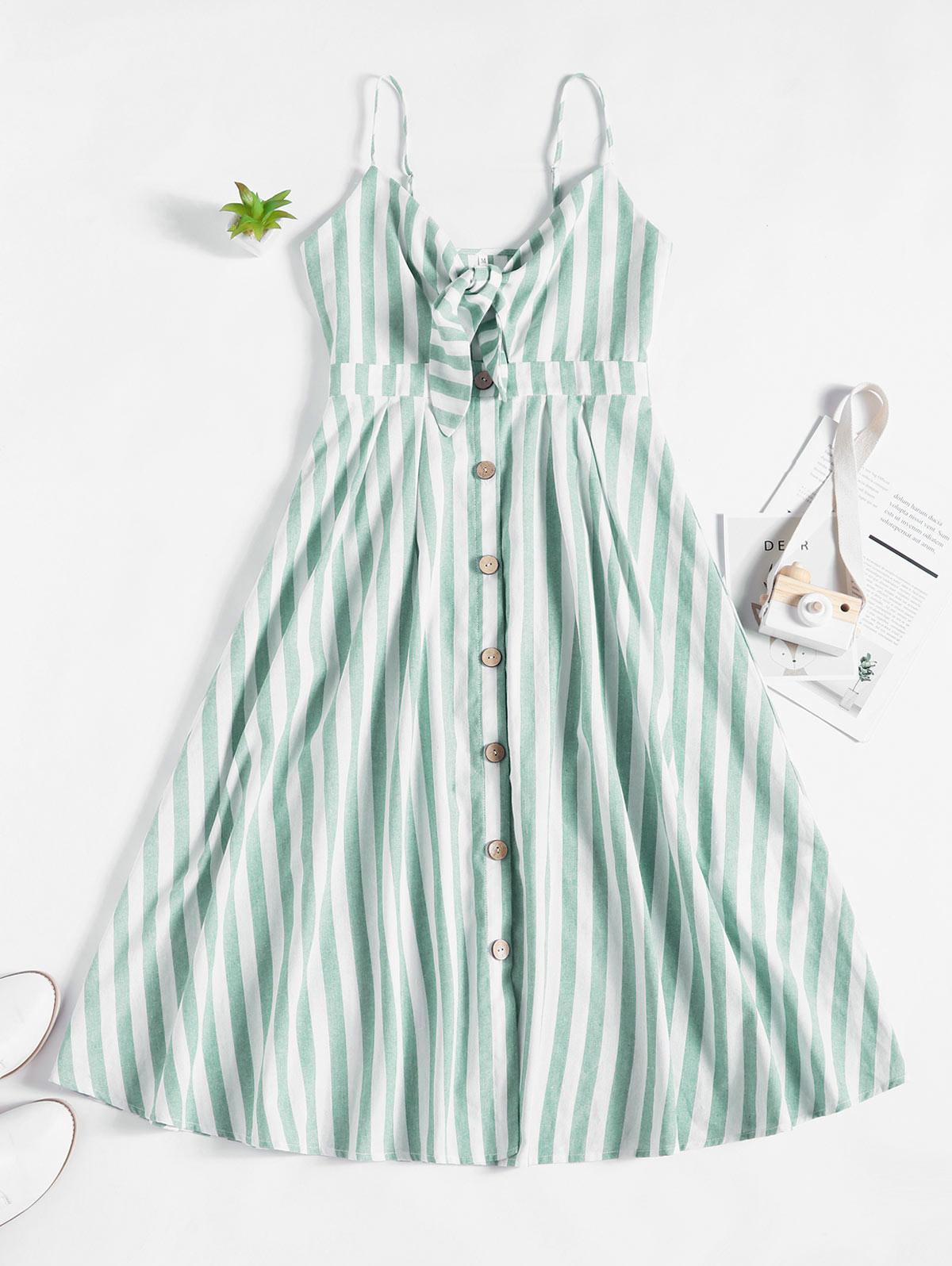 ZAFUL Knot Striped Button Down Cami Dress