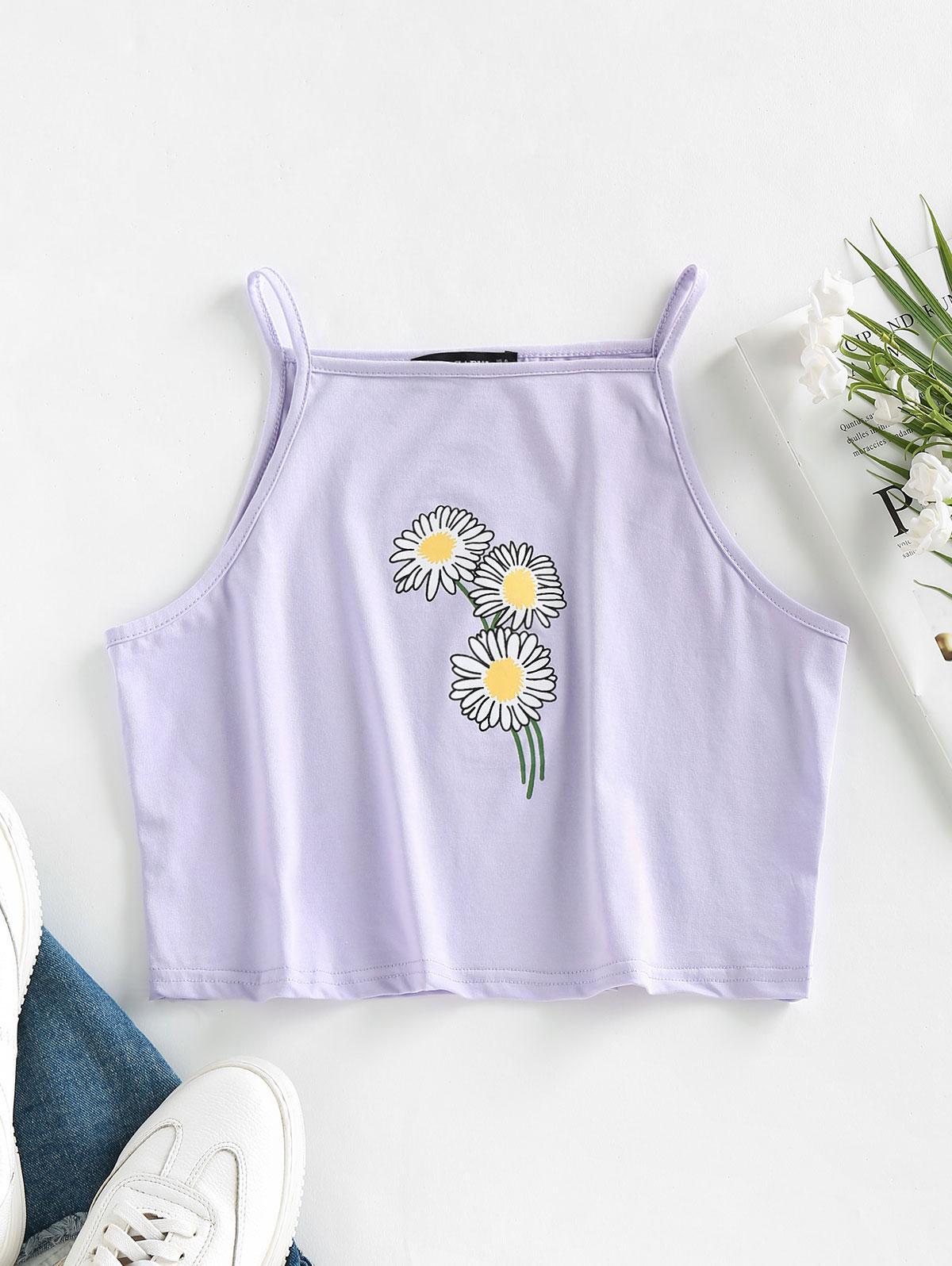ZAFUL Flower Print Crop Cami Top