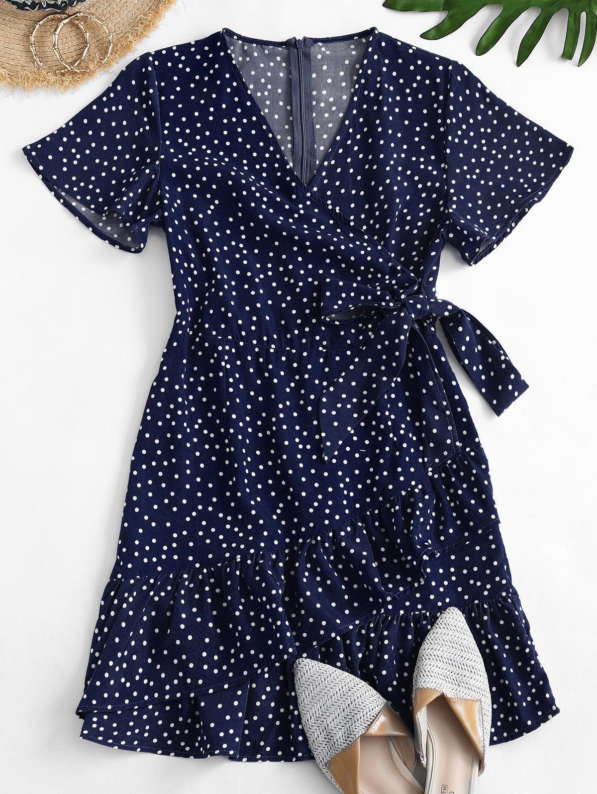 Dotted Tie Waist Ruffles Mini Dress