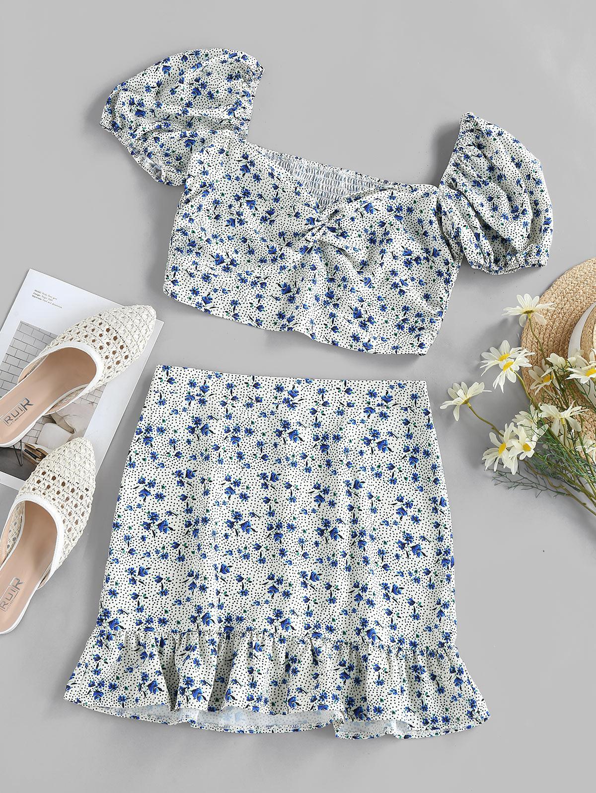 ZAFUL Floral Polka Dot Smocked Twisted Mermaid Skirt Set