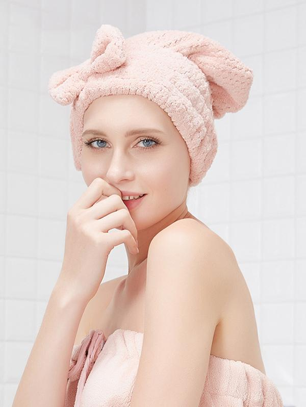 Bowknot Hair Dry Water Absorbent Towel Hat
