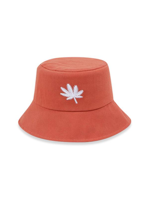 Embroidered Maple Leaf Bucket Hat
