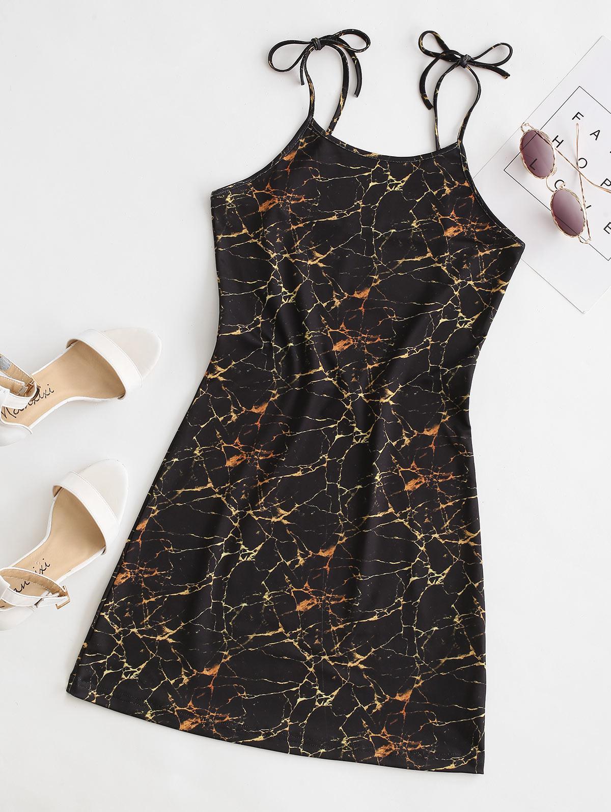 Marble Print Tie Shoulder Mini Dress