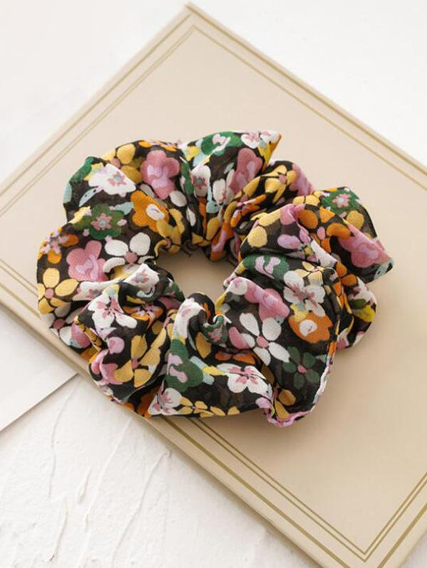 Tiny Flower Fabric Elastic Scrunchies