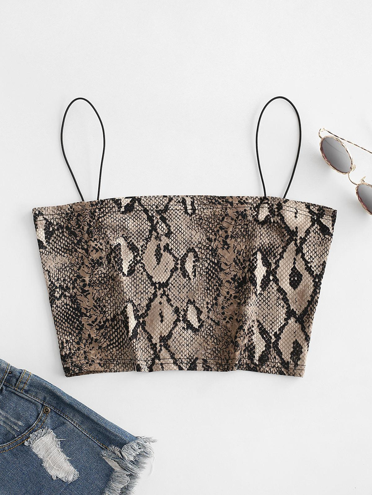 Cropped Bungee Snake Print Cami Top