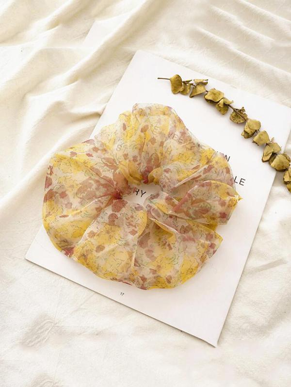 Ditsy Floral Mesh Elastic Scrunchy
