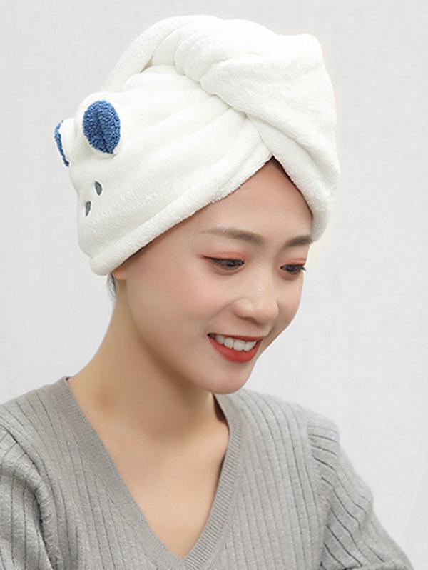 Cartoon Animal Pattern Dry Hair Water Absorbent Towel Hat
