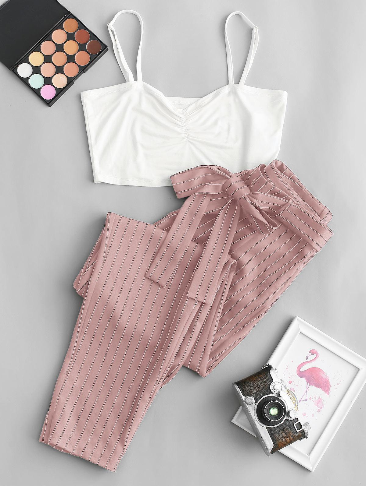 ZAFUL Cropped Cami Top and Striped Print Belted Pants Set