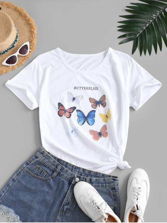 Camiseta de Borboleta Colorido com Estampa Gráfica - Branco XL