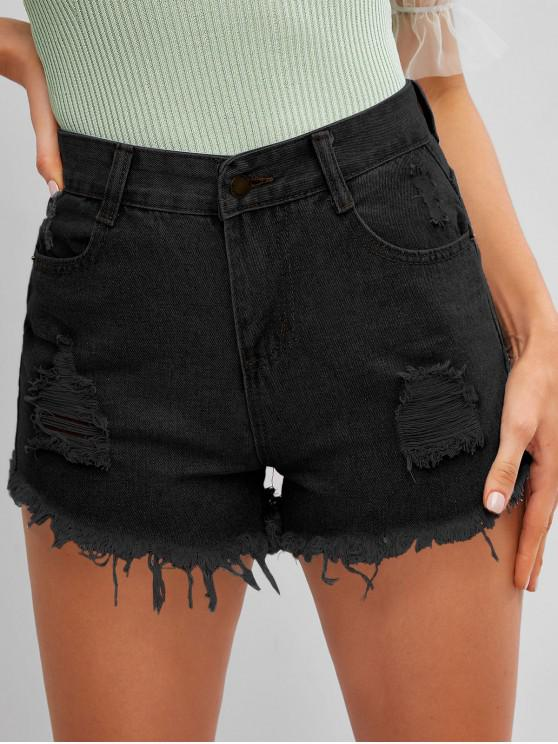 women Frayed Hem Ripped Denim Cutoff Shorts - BLACK M