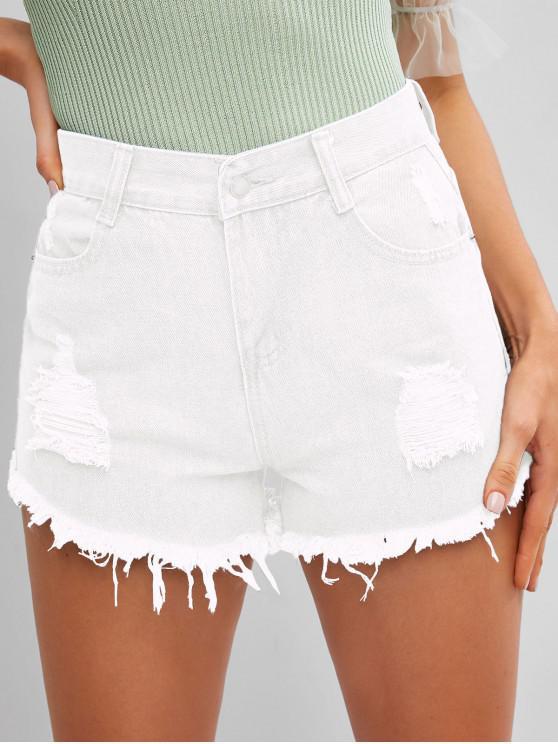 online Frayed Hem Ripped Denim Cutoff Shorts - WHITE XL