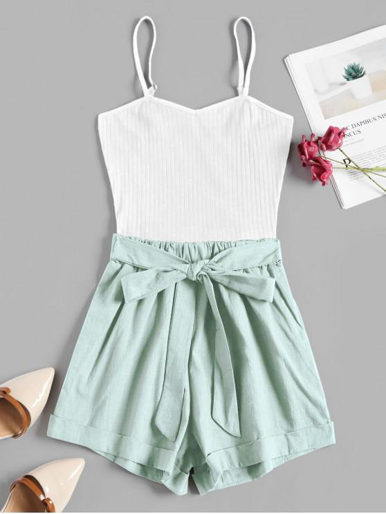 buy Ribbed Panel Tie Waist Two Tone Cami Romper - GREEN L
