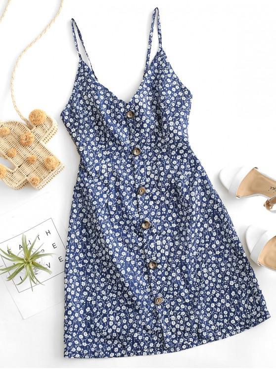 Buton de sus Tie înapoi Ditsy Floral Dress - Midnight Blue L