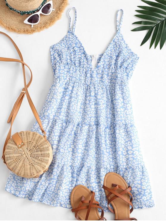Mini Vestito a Vita Alta con Stampa Leopardata - Blu Grigio L