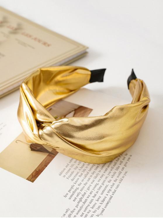 Înnodate metalice piele Faux par Band - Galben