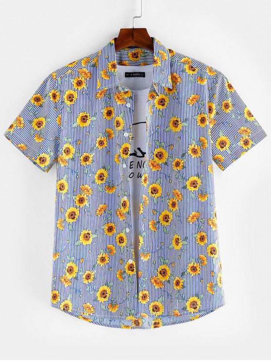 outfits ZAFUL Floral Pattern Button Short Sleeves Shirt - SEA BLUE M
