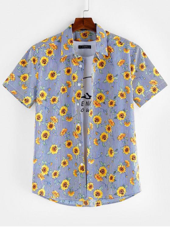 ZAFUL Camisa de Manga Corta de Botones de Patrón Floral - Azul Marino L