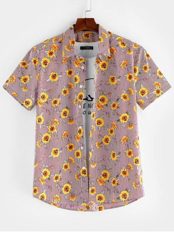 ZAFUL Floral Pattern Button Short Sleeves Shirt - الحمم الحمراء XL