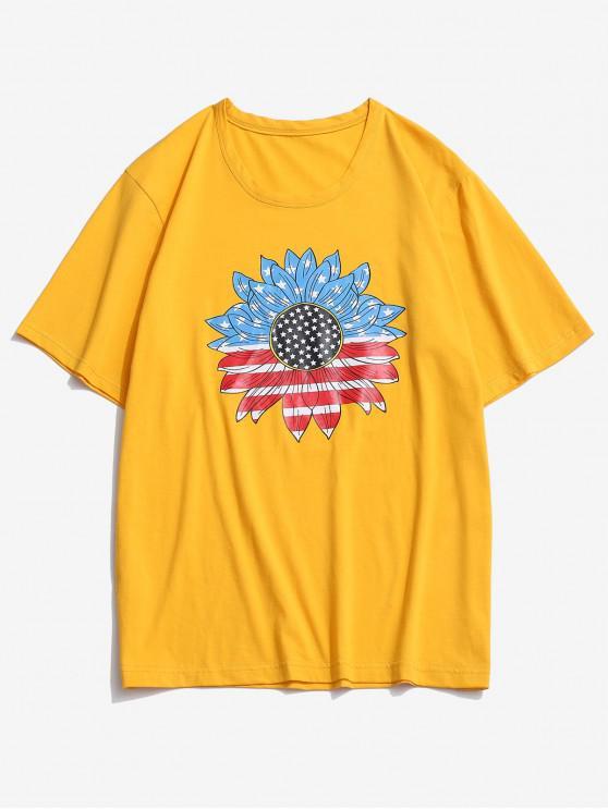 ZAFUL Camiseta con Estampado de Bandera Americana y Girasol - Amarillo Brillante XL