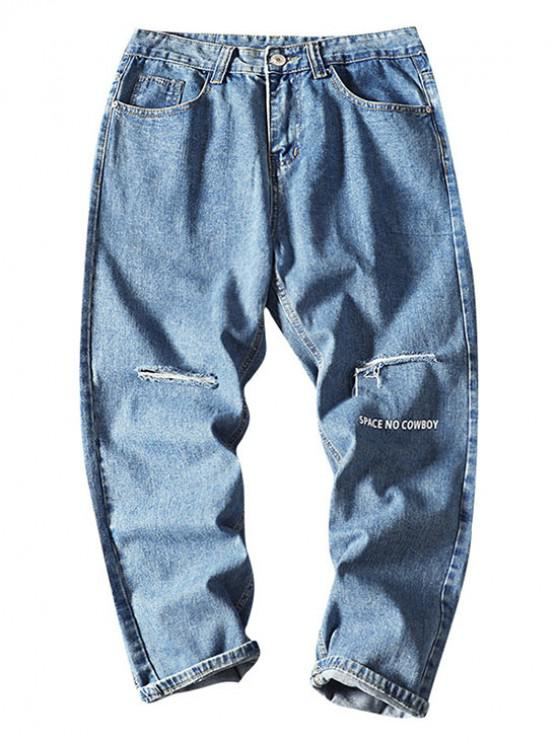 affordable Space No Cowboy Distressed Ripped Jeans - LIGHT BLUE XL