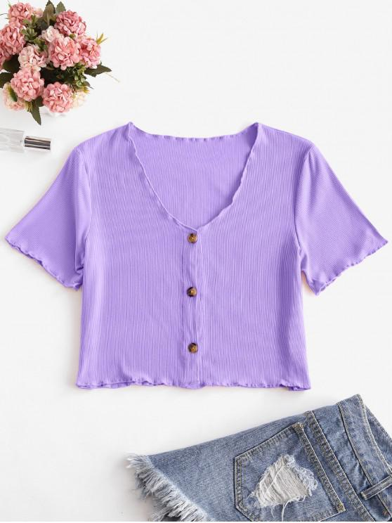 hot V Neck Button Up Ribbed Tee - LILAC L