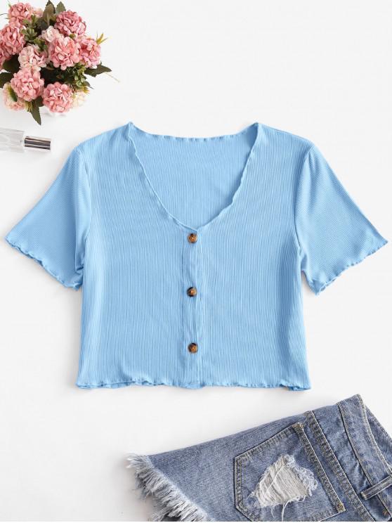 shop V Neck Button Up Ribbed Tee - BLUE L