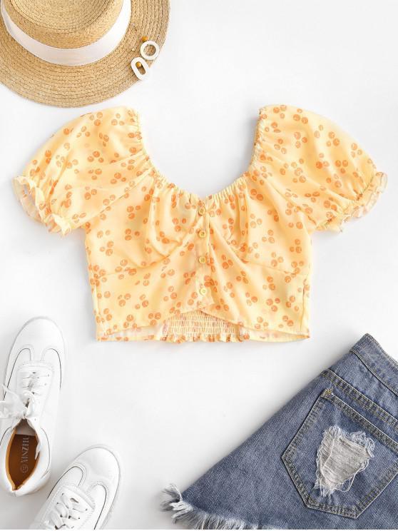 Printed Smocked Puff Sleeve Milkmaid Top - الأصفر M