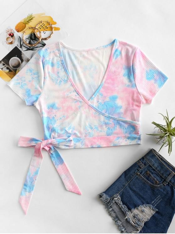 online ZAFUL Tie Dye Surplice Ribbed Knotted Tee - PINK S