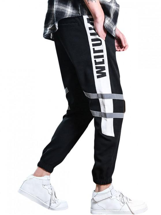 shops Colorblock Letter Print Drawstring Jogger Pants - WHITE XL
