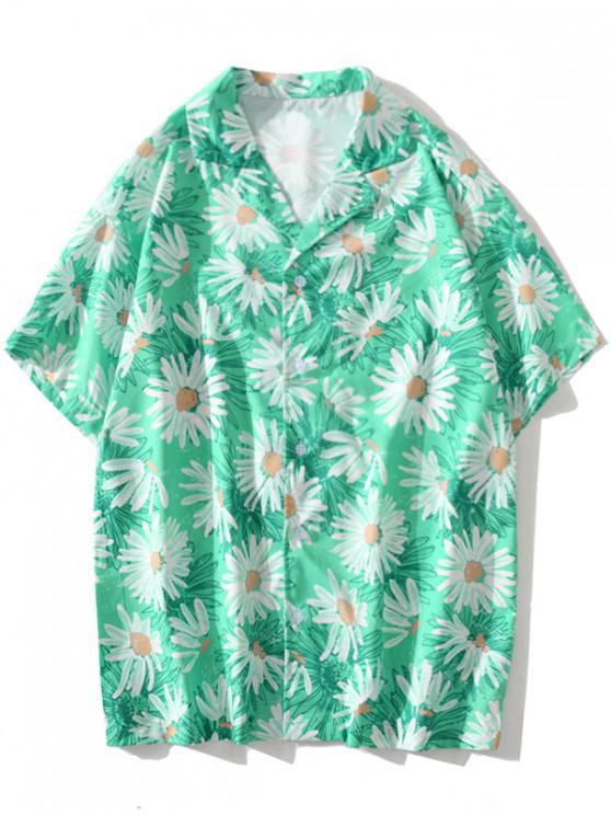Daisy Allover Print Vacation Shirt - زبرجد 2XL
