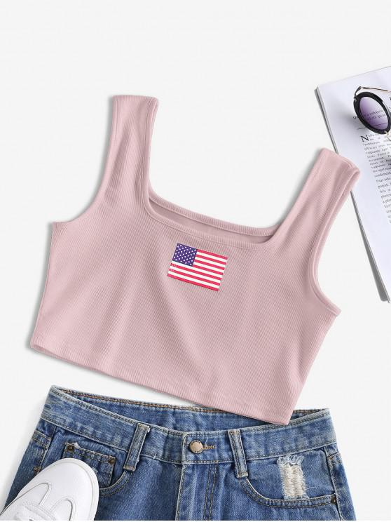 outfits ZAFUL Patriotic American Flag Ribbed Crop Tank Top - ROSY BROWN L