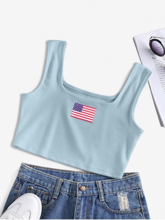 shop ZAFUL Patriotic American Flag Ribbed Crop Tank Top - BLUE GRAY S