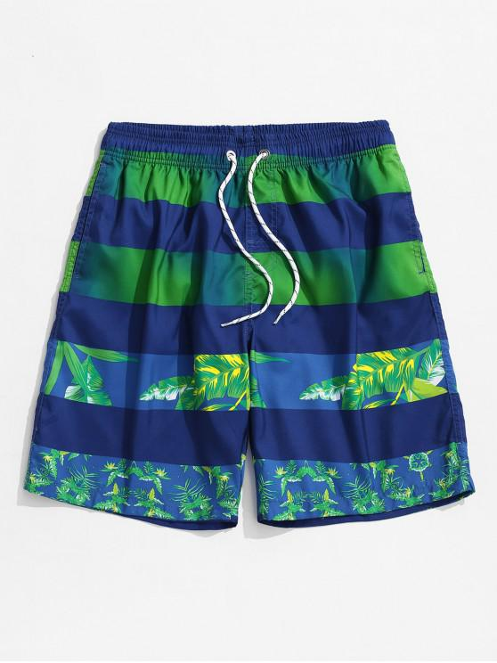 Leaf Print Color Spliced Casual Shorts - أزرق 3XL