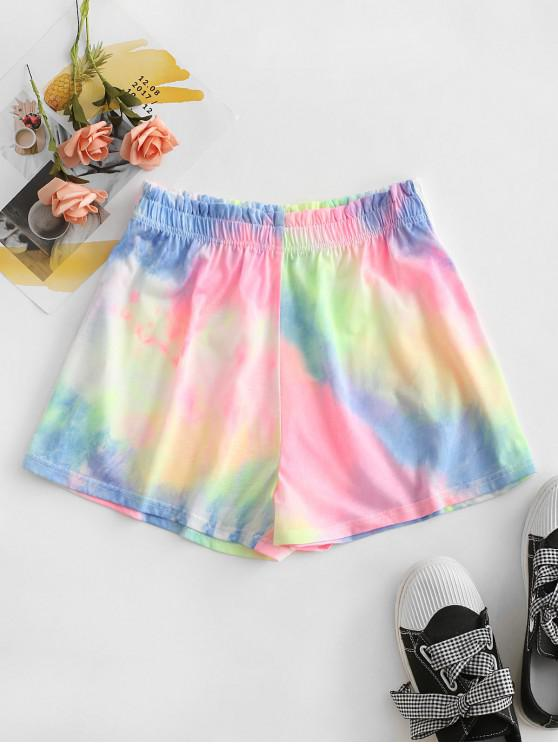 women Tie Dye Frilled High Rise Shorts - PINK M