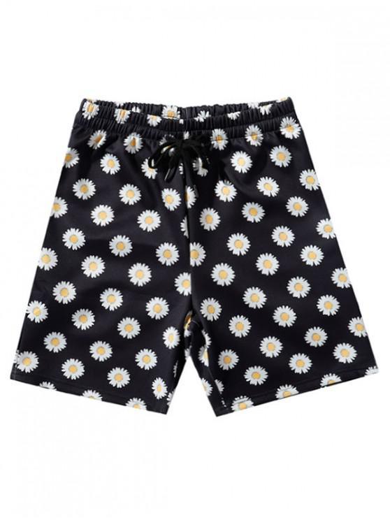 Daisy Print Vacation Shorts - أسود 2XL