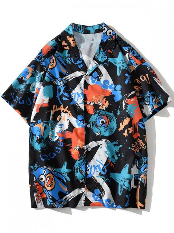 Cartoon Animal Graffiti Print Button Shirt - أسود 2XL