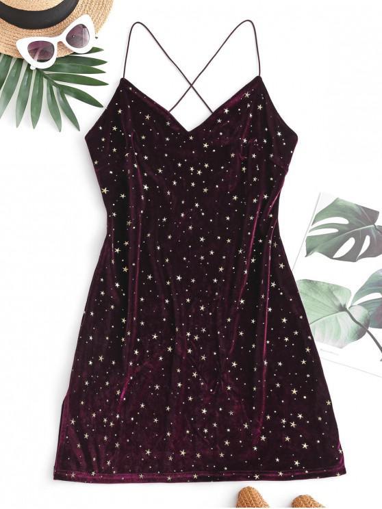 womens ZAFUL Slit Criss Cross Glitter Star Velvet Dress - DEEP RED L