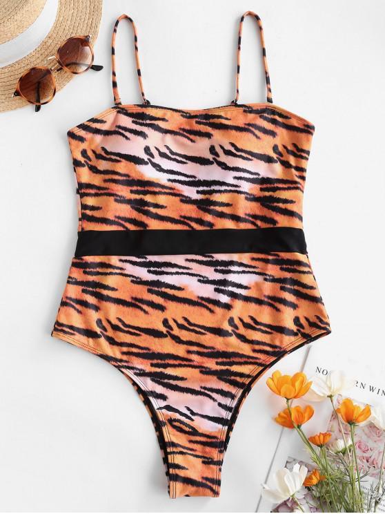 ZAFUL Tigerdruck Bandeau Einteiliger Badebekleidung - Tiger Orange S