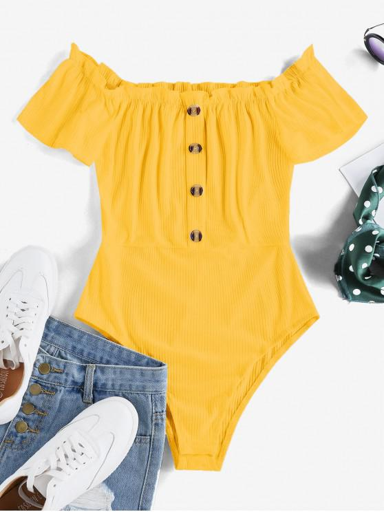 buy ZAFUL Frilled Ribbed Off The Shoulder Bodysuit - SUN YELLOW S